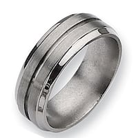 Chisel Grooved Ridged Edge Brushed and Polished Titanium Ring (8.0 mm)