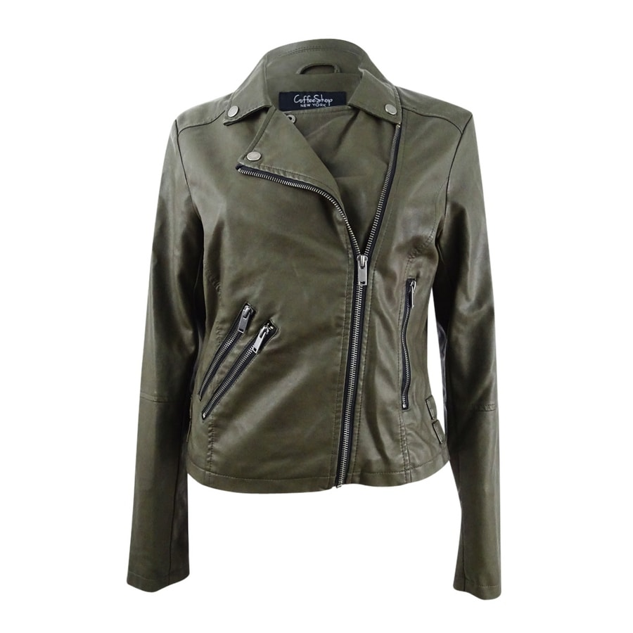 pick up where can i buy fast color Coffeeshop Juniors Faux-Leather Buckled Moto Jacket (M, Sherwood Olive) -  Sherwood Olive - M