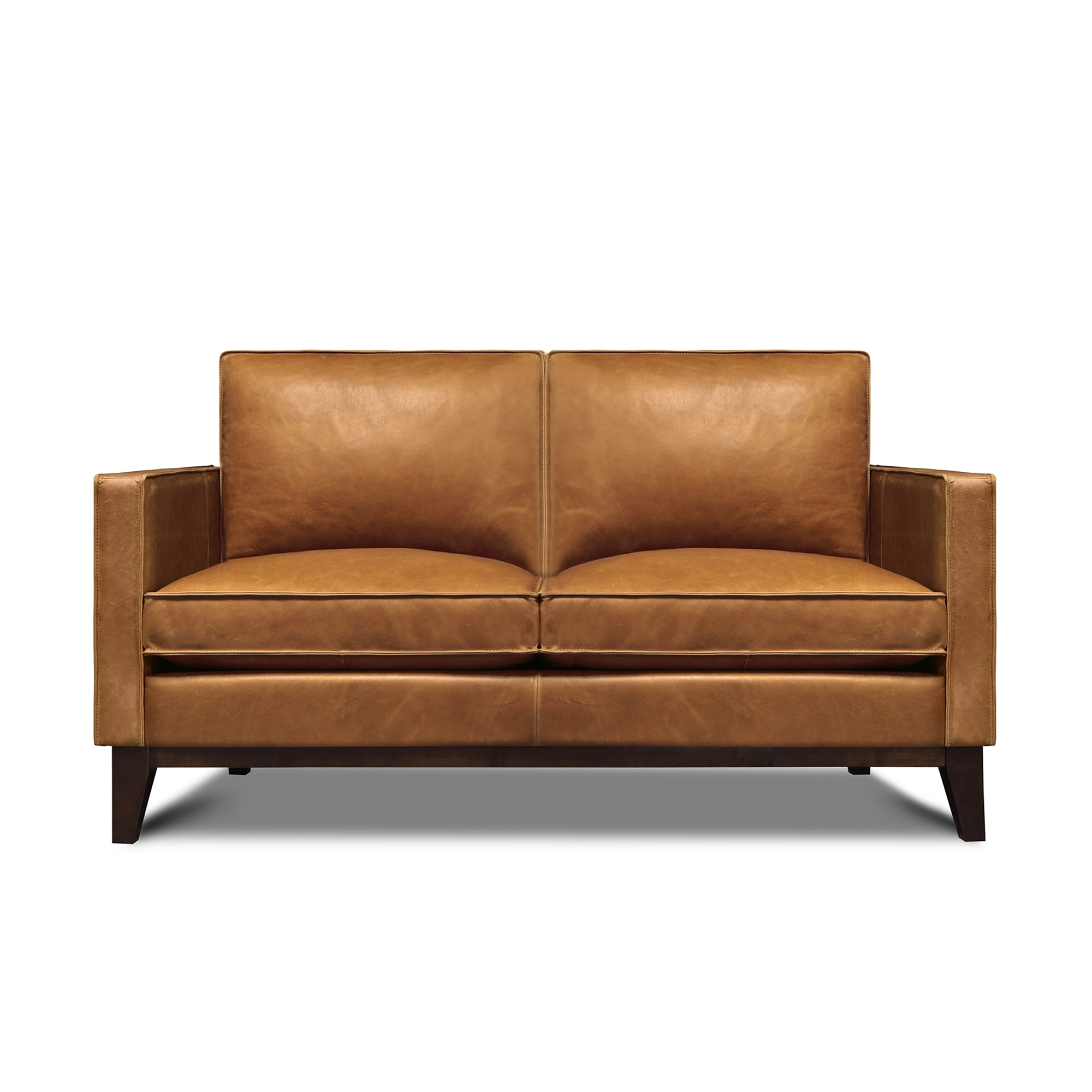 Image of: Shop Black Friday Deals On Metropole 100 Top Grain Pull Up Leather Mid Century Loveseat Overstock 31756062