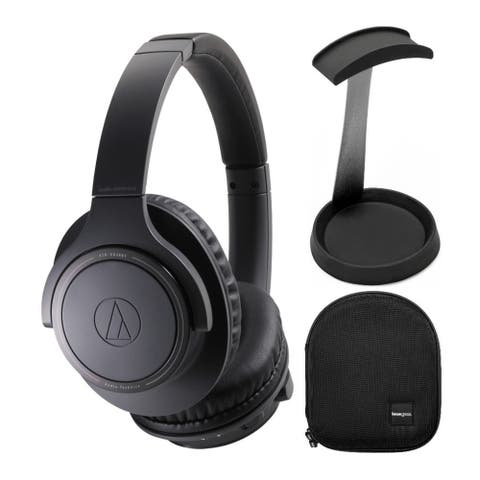 Audio-Technica Wireless Headphones (Charcoal Gray) with Case and Stand