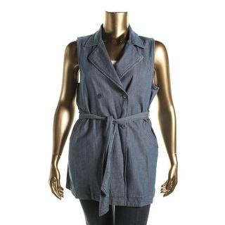 Sanctuary Womens Chambray Double-Breasted Vest