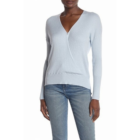 Elodie Blue Womens Size Large L Stretch Ribbed V-Neck Sweater