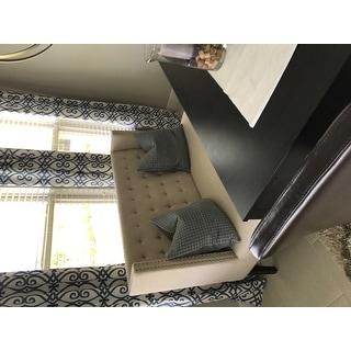 Owstynn Beige Linen Modern Settee Bench
