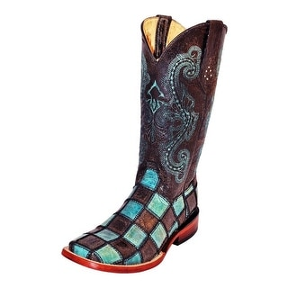 Ferrini Western Boots Womens Leather Patchwork Black Teal 81393-50