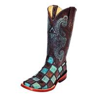 Ferrini Western Boots Womens Leather Patchwork Black Teal