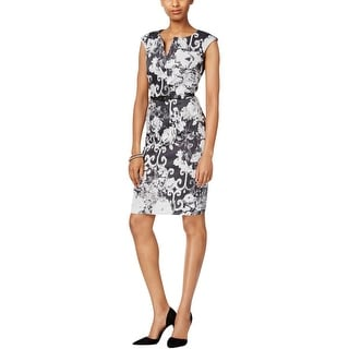 Connected Apparel Womens Casual Dress Printed Split Neck