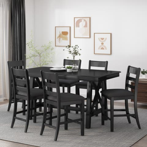 Tiltonsville Indoor Wood Counter Height 7 Piece Dining Set by Christopher Knight Home
