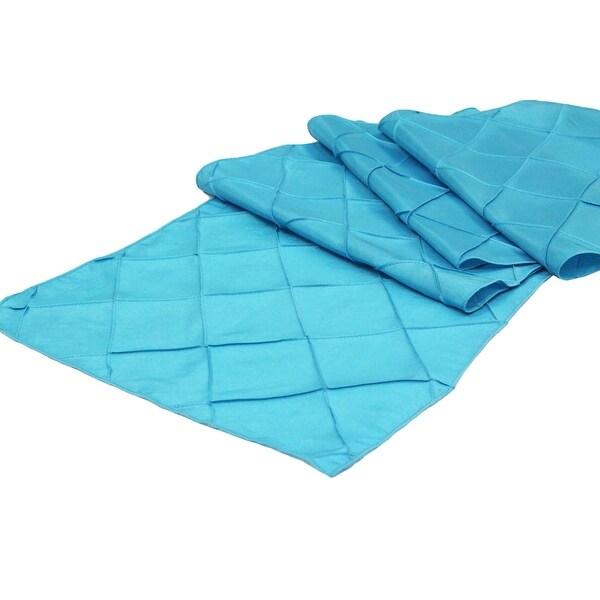 """10 Pieces, Pintuck Table Runner Approx. 13""""x108"""" Material: Pintuck Taffeta (3"""" pattern) - Aqua Blue"""