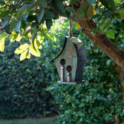 Alpine 12-Inch Outdoor Hanging Wooden Birdhouse, Turquoise