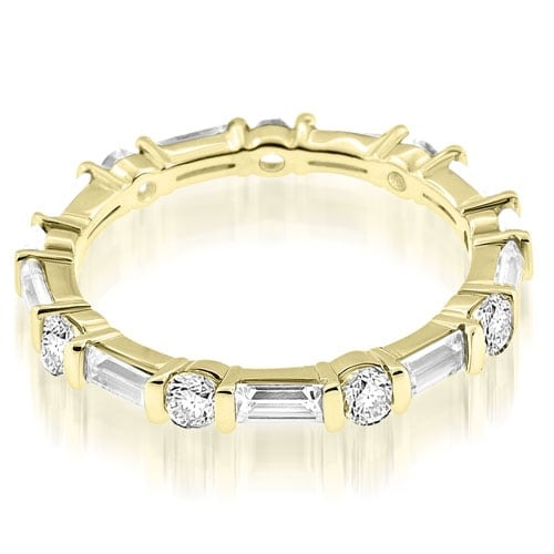 1.25 cttw. 14K Yellow Gold Petite Round Baguette Bar Set Diamond Eternity Ring