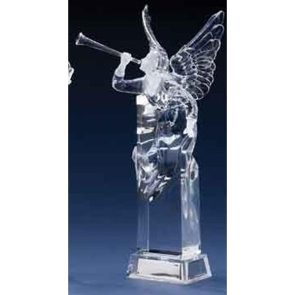 """11.5"""" Icy Crystal Led Lighted Christmas Angel Figure with Trumpet Horn"""