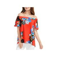 Vince Camuto Womens Casual Top Tropical Print Off the Shoulder