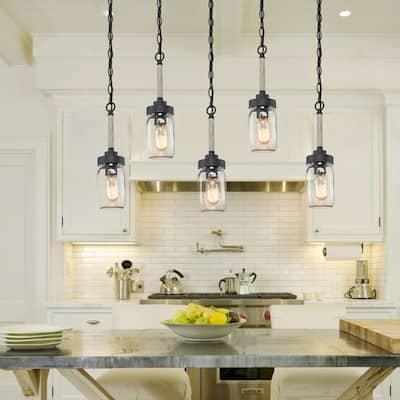 "Farmhouse Mason Jar Pendant Lighting for Kitchen over Sink - D4.1""*H14.6"""