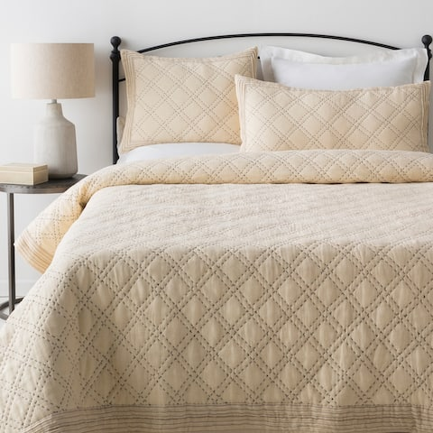 Basilus Cream Modern Quilt Set