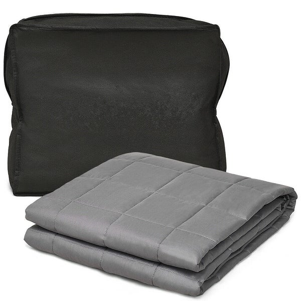 Gymax Weighted Blanket 17 lbs Queen /King Size Cotton Blanket Glass Beads - 60'' x 80'' 17 lbs