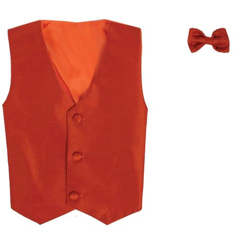 Baby Boys Orange Poly Silk Vest Bowtie Special Occasion Set 3-24M