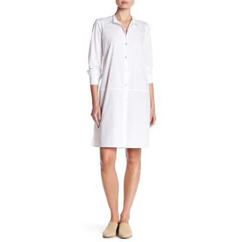 Eileen Fisher Classic Collar Dress, White, Medium