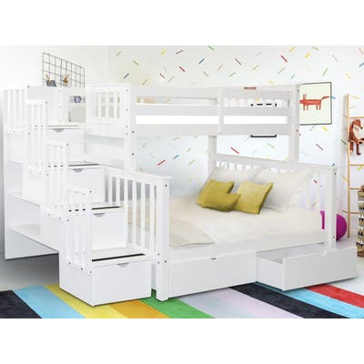 Taylor & Olive Trillium Twin over Full Stairway Bunk Bed, 2 Drawers