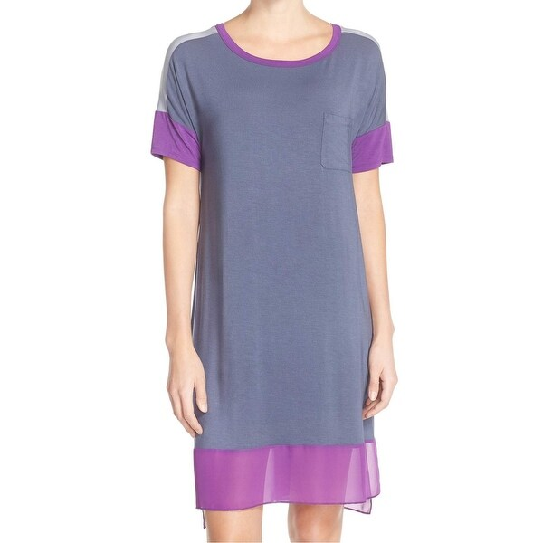 DKNY NEW Gray Purple Women  x27 s Size Small S Chiffon Sleepshirt Sleepwear 5580971f8