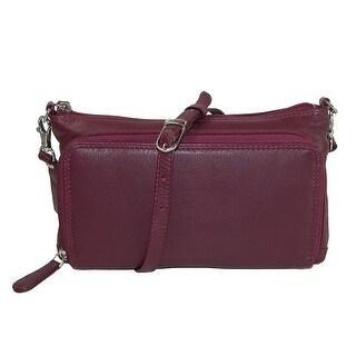 CTM® Women's Leather Organizer Crossbody Handbag - One size