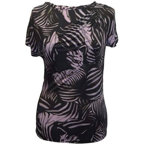 SALVATORE FERRAGAMO Black Lavender Animal Print Cap Sleeve Rayon Basic T Shirt