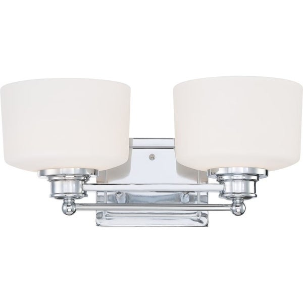 """Nuvo Lighting 60/4582 Soho 2-Light 16"""" Wide Bathroom Vanity Light with Frosted Glass Shades - Polished chrome"""