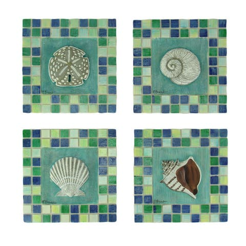 Green and Blue Mosaic Seashell Tile Coastal Wall Decor Set of 4 - 5.5 X 5.5 X 0.5 inches