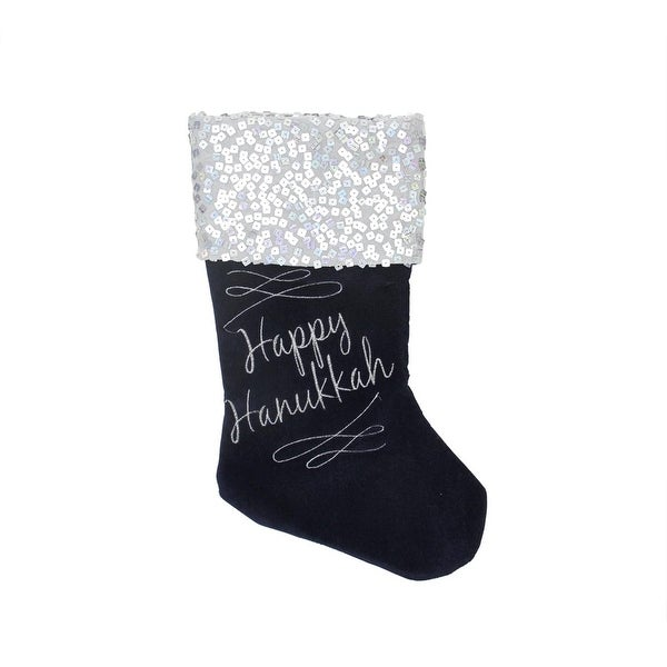 """19"""" Navy and Silver """"Happy Hanukkah"""" Square Sequin Cuffed Embroidered Velvet Stocking"""