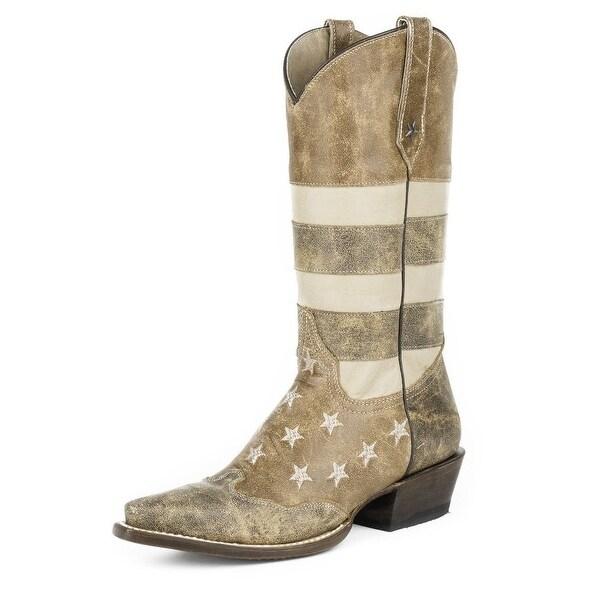 Roper Western Boots Womens American Flag B Brown