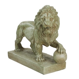 """11.25"""" Left Facing Weathered Protective Lion Outdoor Patio Garden Statue"""