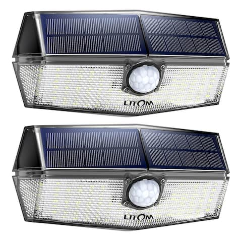 LITOM 120 LED Solar Lights Security Outdoor upgraded Solar Panel with 3 Optional Modes and 270°Wide Angle IP67 Waterproof 2pcs