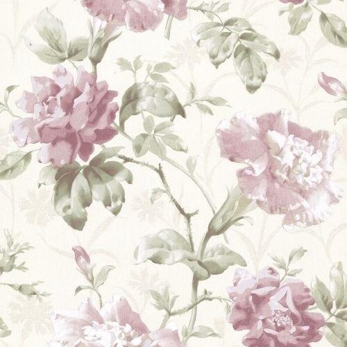 Brewster 2614-21002 Juliana Mauve Vintage Floral Wallpaper