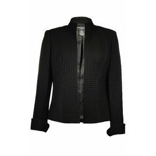 Sutton Studio Womens Waffle Textured No-Close Jacket Black