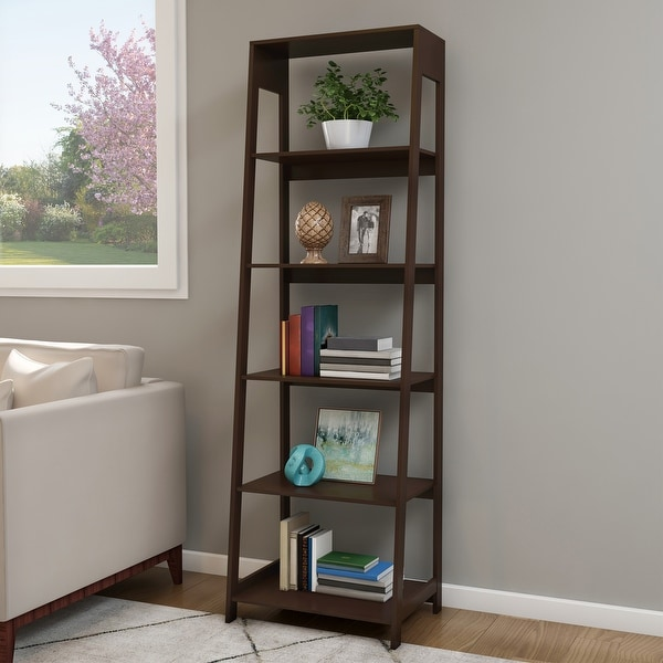 Hastings Home 5-Tier Freestanding Bookcase - Brown. Opens flyout.