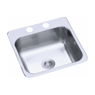 "Sterling B153-1 15"" Single Basin Drop In Stainless Steel Bar Sink with SilentShi"