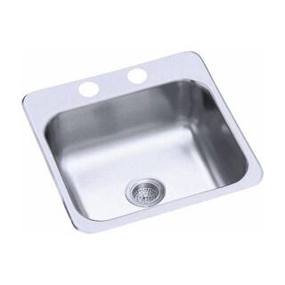 "Sterling B153-1 15"" Single Basin Drop In Stainless Steel Bar Sink with SilentShield"