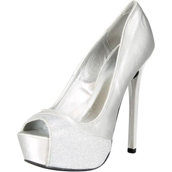 c851d3c5365f Qupid Women  x27 s Miriam53 Special Occasion Glitter Hidden Platform High  Heel Stiletto Shoes