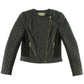 Michael Kors Womens Lamb Leather Quilted Motorcycle Jacket - XS
