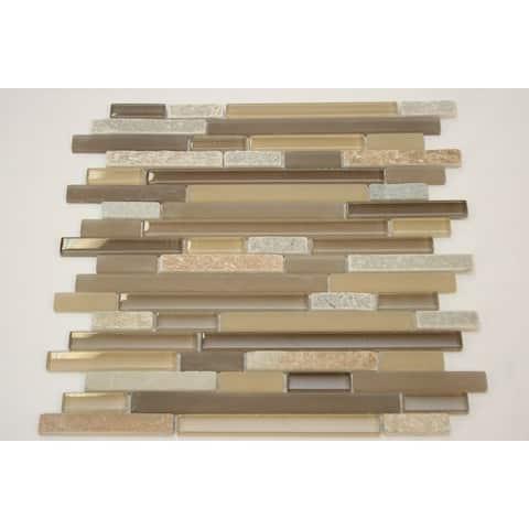 TileGen. Random Sized Glass Mix Stone Mosaic Tile in Brown/Grey Wall Tile (10 sheets/9.5sqft.)