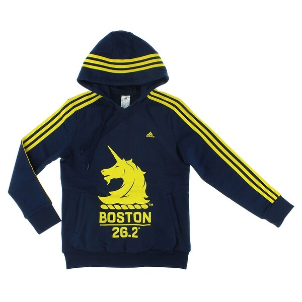 f99159a84 Adidas Womens Boston Marathon Pullover Hoodie Navy Blue - Navy Blue/Yellow  - S