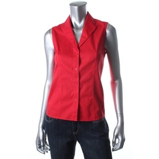 Jones New York Womens Cotton Seamed Button-Down Shirt - 10