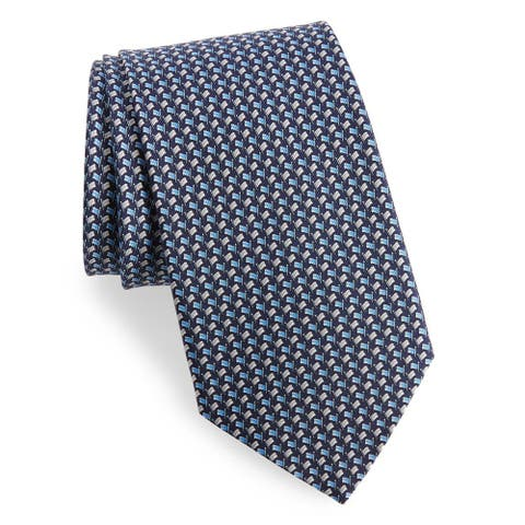 Salvatore Ferragamo Mens Blue Flag Neck Tie