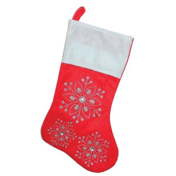 "19"" Red and White Felt Christmas Stocking with Glitter Snowflakes and Gemstones"