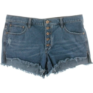 Free People Womens Distressed Button Fly Denim Shorts