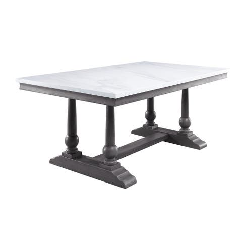 ACME Yabeina Dining Table in Marble Top and Gray Oak Finish
