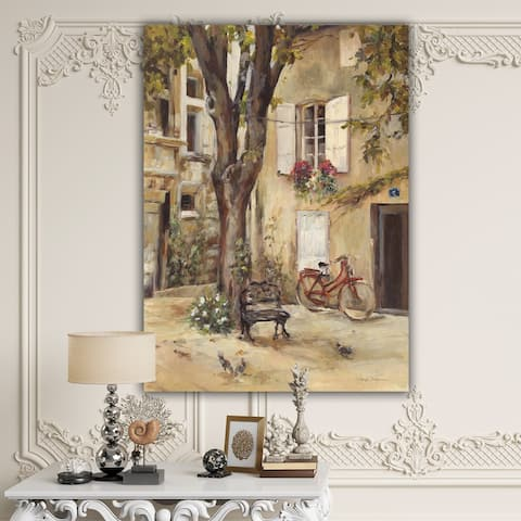 Designart 'Provence French Village I' French Country Canvas Artwork Print - Grey