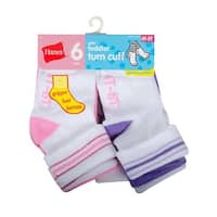 Hanes Infant Girls Turn Cuff Socks P6 - Size - 12-24M - Color - Assorted