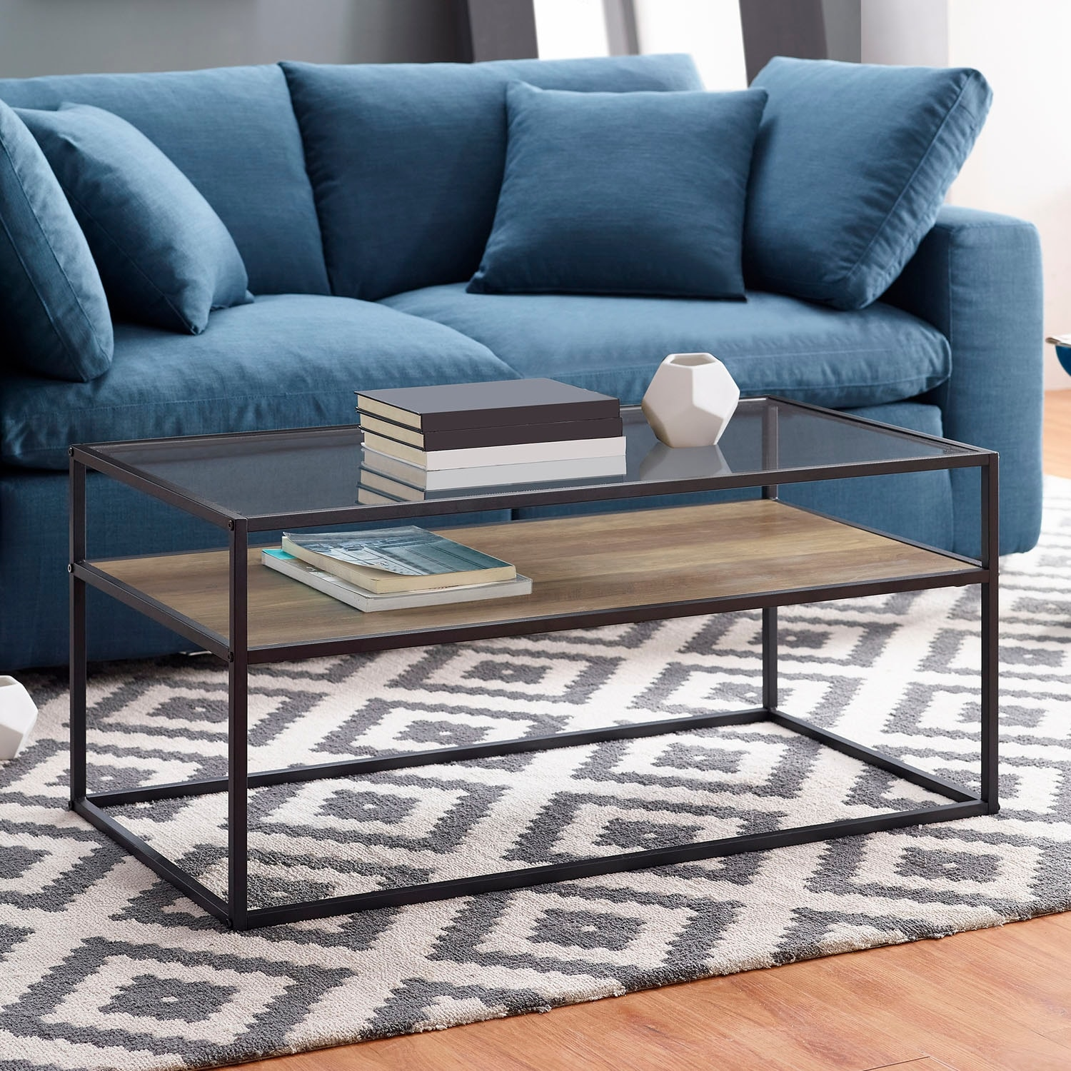 Incredible Offex Modern Reversible Shelf Coffee Table Rustic Oak Stone Gray Ncnpc Chair Design For Home Ncnpcorg