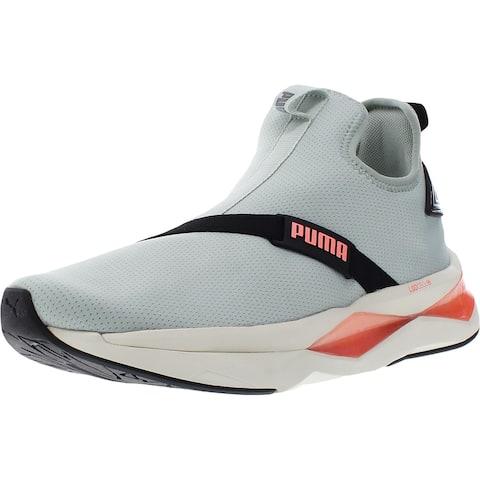 Puma Womens Shatter XT Mid Pearl Mid-Top Sneakers Exercise Laceless - Aqua Gray/Puma Black/Marshmallow - 10 Medium (B,M)