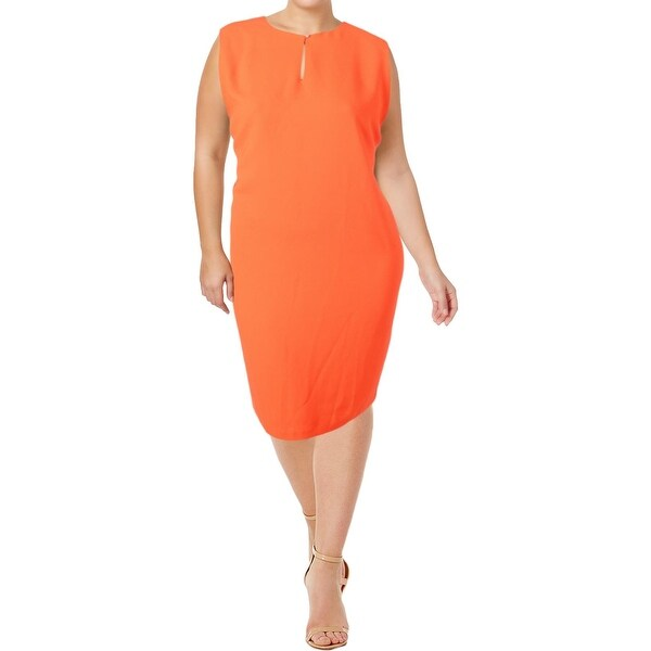 Lauren Ralph Lauren Womens Plus Forsetti Casual Dress Crepe Shift